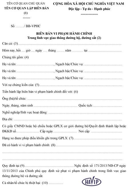 Bien Ban Vi Pham Hanh Chinh Trong Linh Vuc Giao Thong Duong Bo Duong Sat