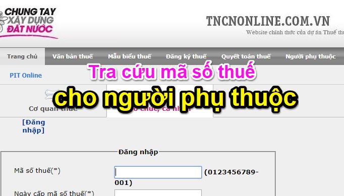 Cach Tra Cuu Ma So Thue Cua Nguoi Phu Thuoc 3