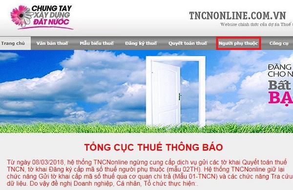 Cach Tra Cuu Ma So Thue Nguoi Phu Thuoc Online