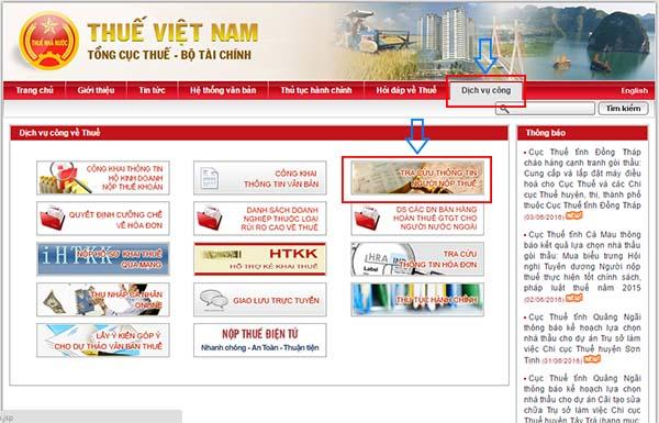 Tra Cuu Ma So Thue Ca Nhan Tren Tong Cuc Thue