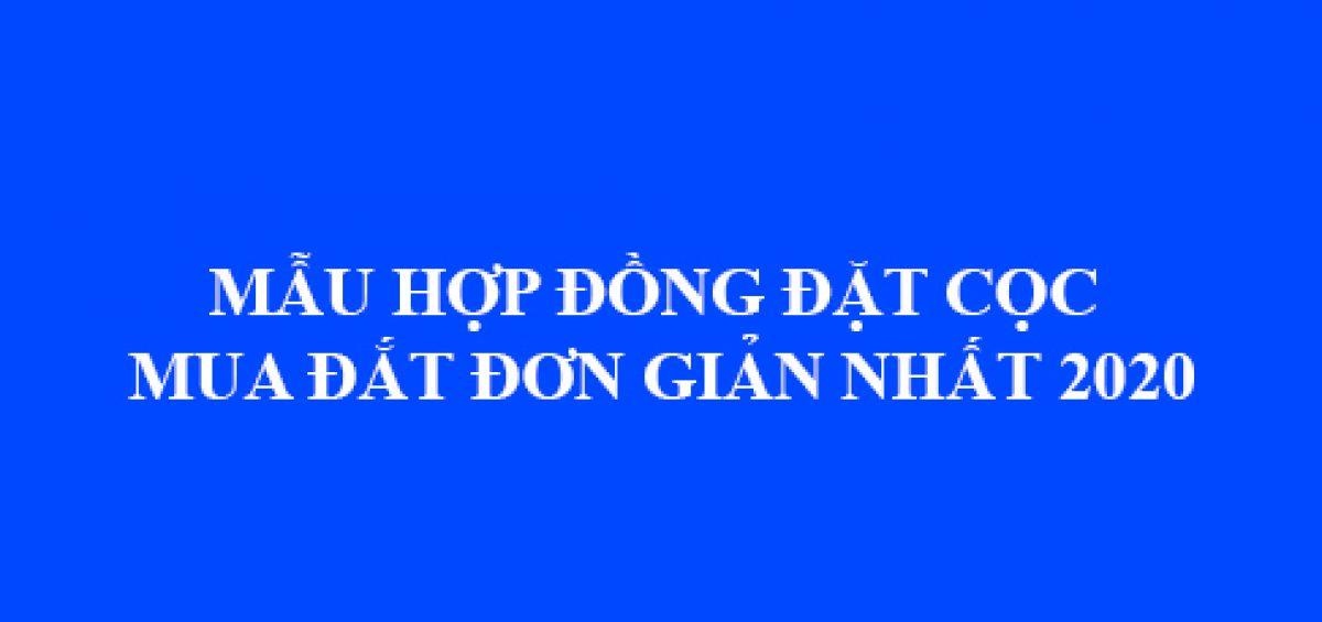 Mau Hop Dong Dat Coc Mua Dat Don Gian